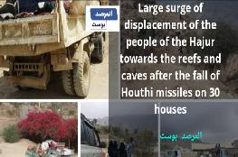 Large surge of displacement of the people of the Hajur towards the reefs and caves after the fall of Houthi missiles on 30 houses
